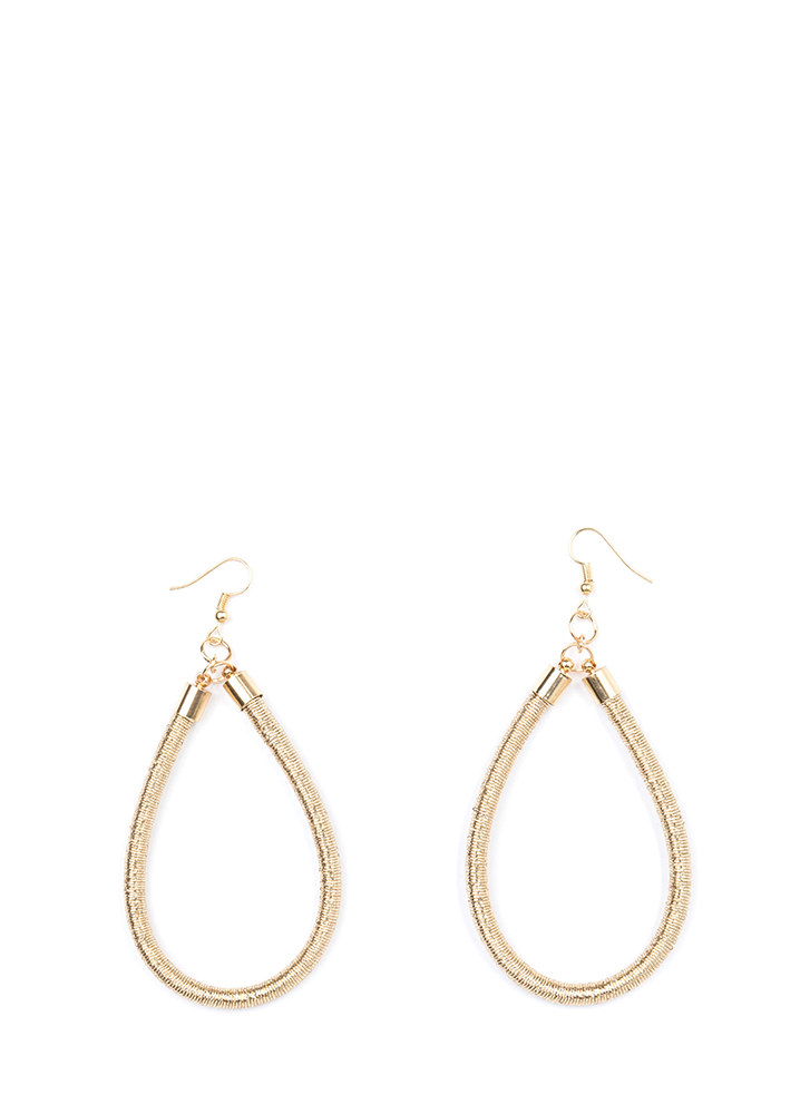 Drop It Looped Thread-Wrapped Earrings GOLD