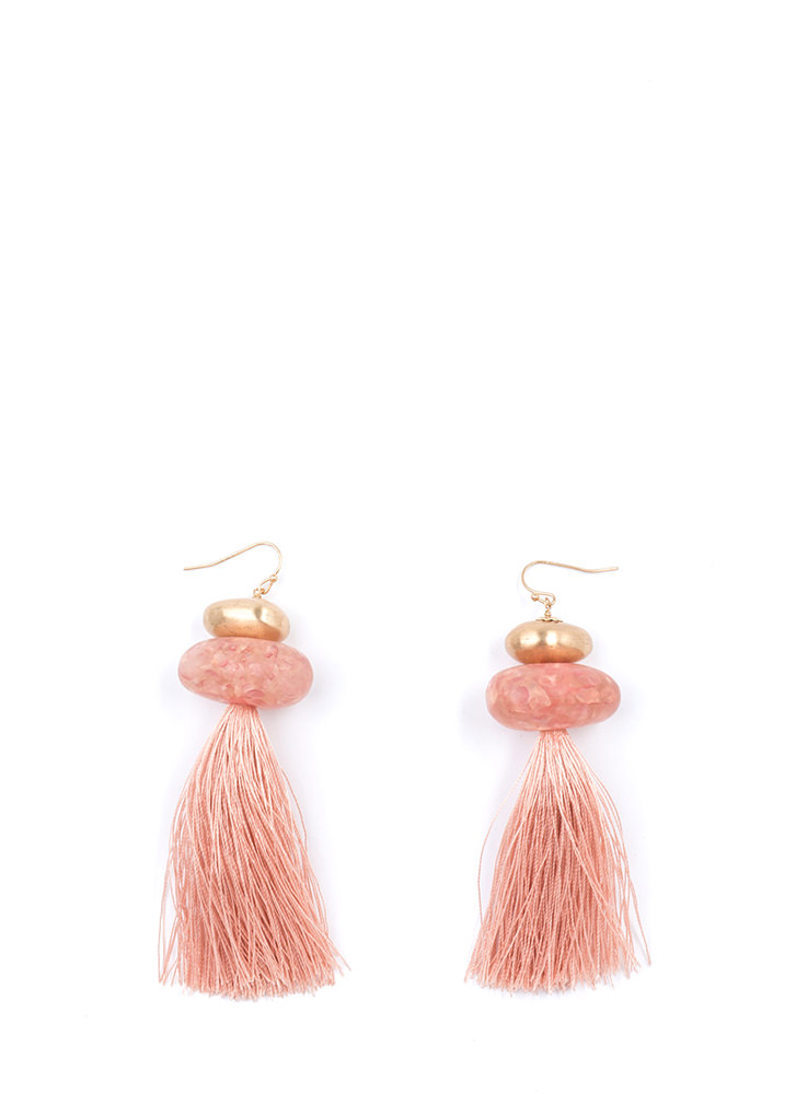 Queen Of The Stone Age Tassel Earrings PINK