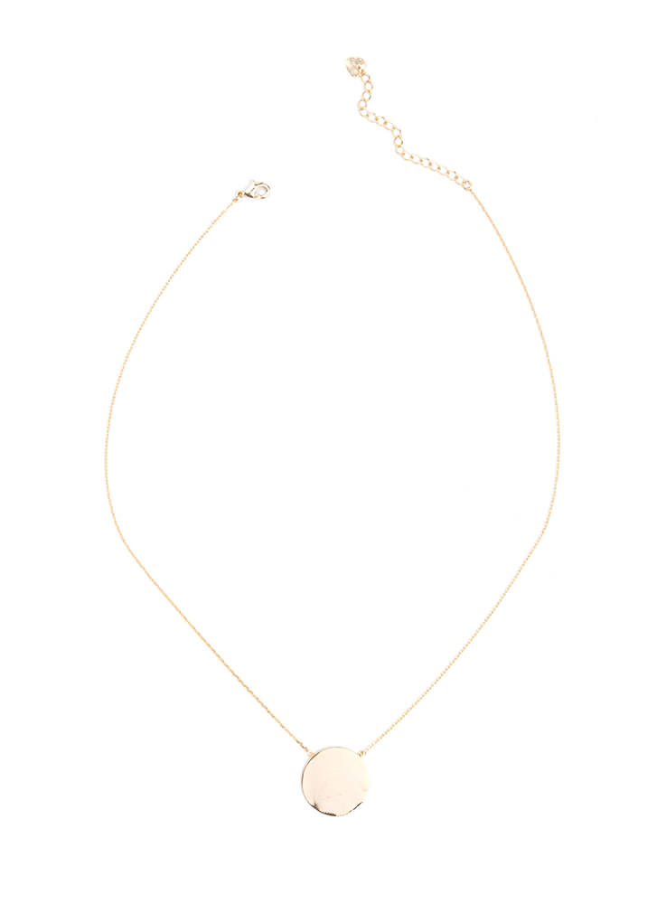 Disc World Delicate Pendant Necklace GOLD
