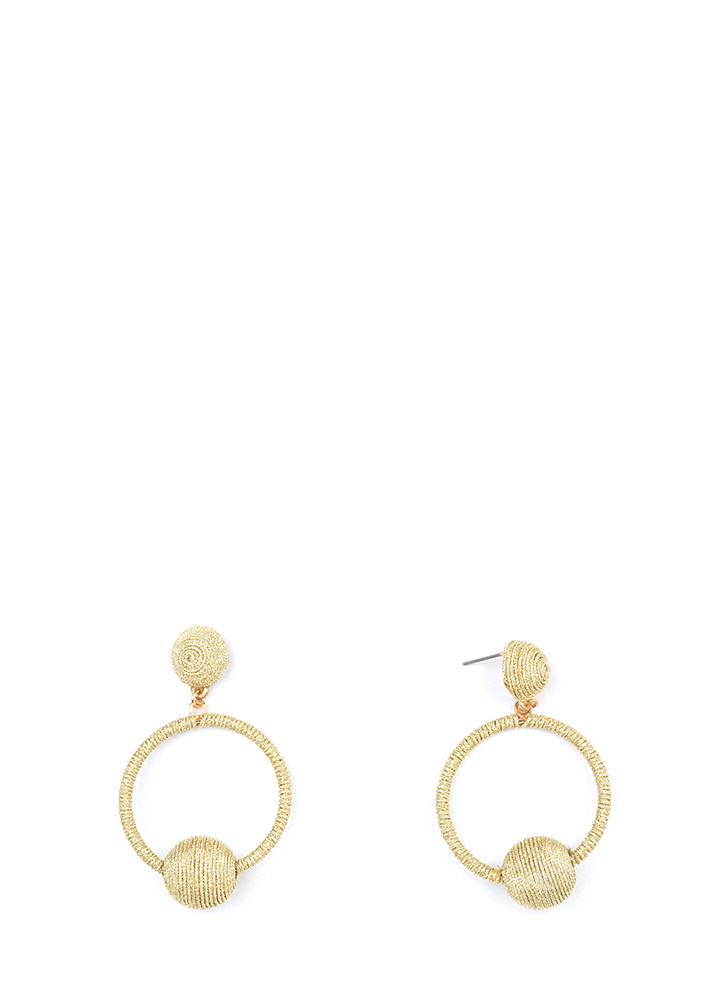 Planets In Orbit Thread-Wrapped Earrings GOLD