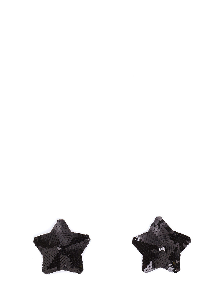 Star Quality Sequined Pasties BLACK (Final Sale)