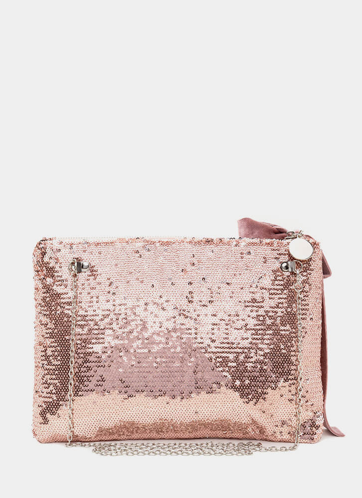 Light It Up Flat Sequined Clutch ROSEGOLD
