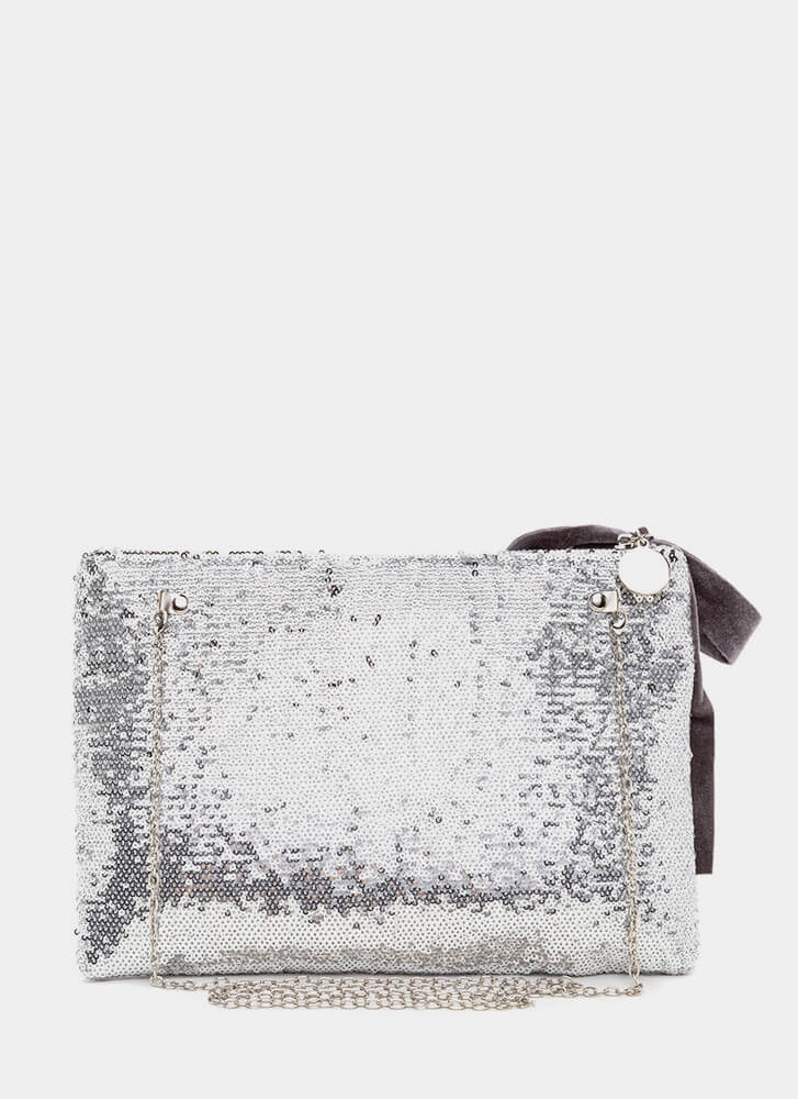 Light It Up Flat Sequined Clutch SILVER