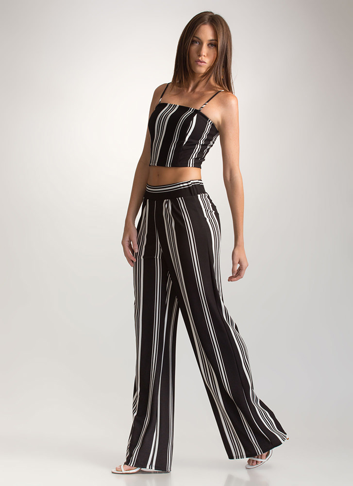 Next In Line Two-Piece Palazzo Jumpsuit BLACK
