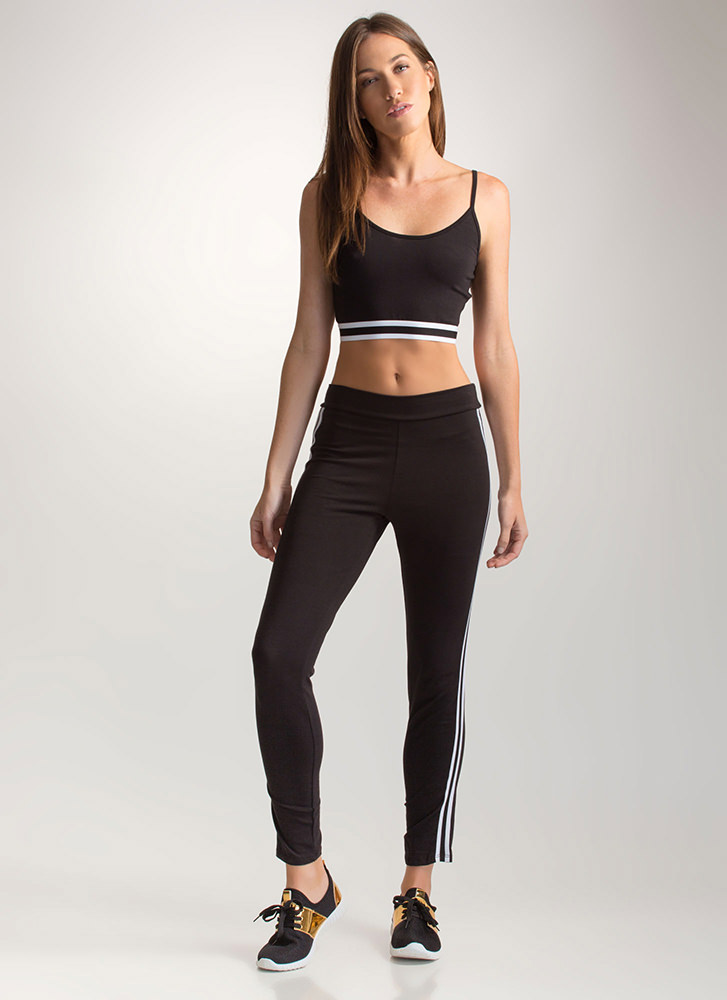 Post Gym Striped Top 'N Pants Set BLACK