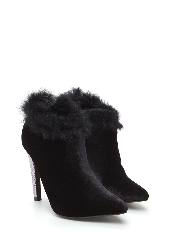 Animal Queen-dom Furry Scaled Booties BLACK