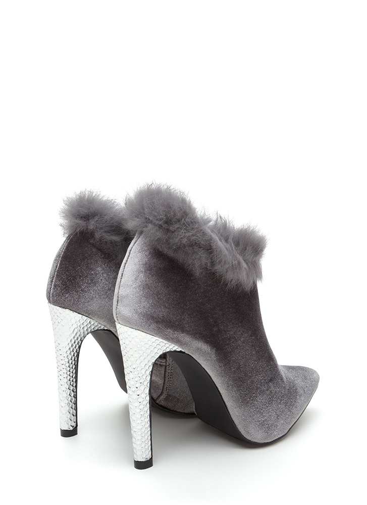 Animal Queen-dom Furry Scaled Booties GREY