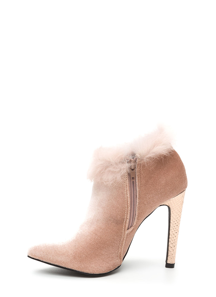 Animal Queen-dom Furry Scaled Booties MAUVE