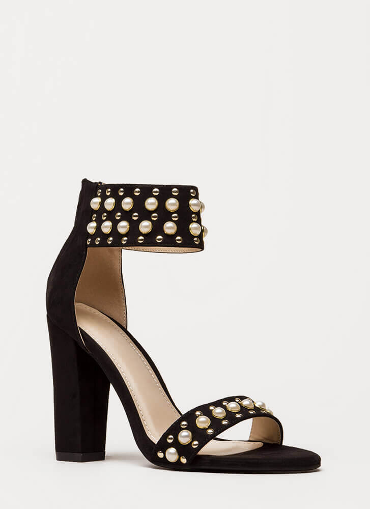 Studs And Pearls Ankle Cuff Heels BLACK