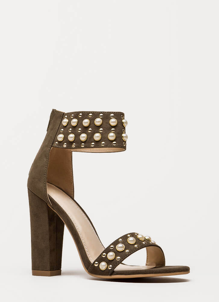 Studs And Pearls Ankle Cuff Heels OLIVE