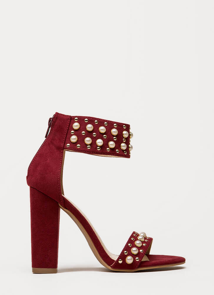 Studs And Pearls Ankle Cuff Heels WINE