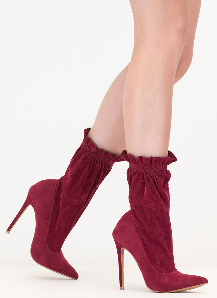 Royal Highness Tall Ruffled Booties WINE