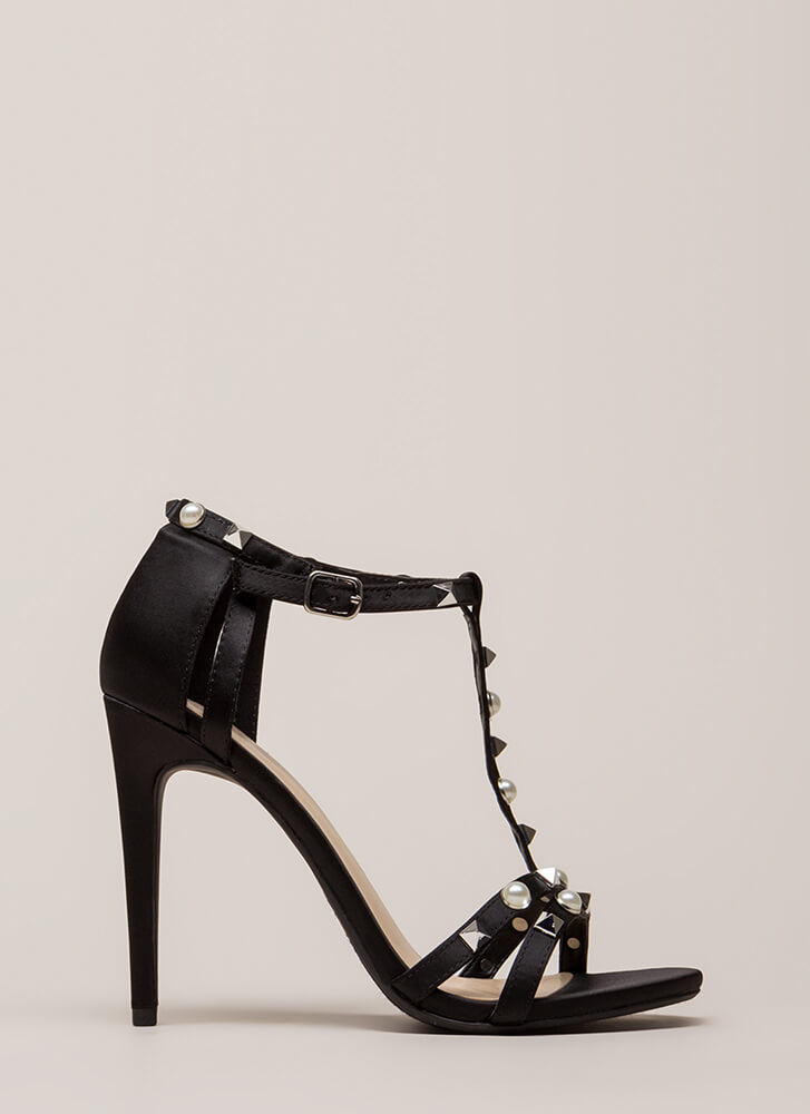 Studded With Pearls Strappy Satin Heels BLACK