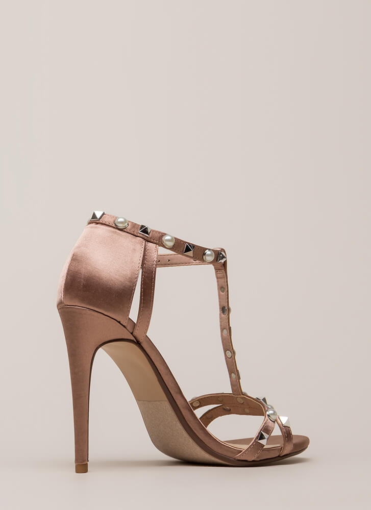 Studded With Pearls Strappy Satin Heels MAUVE
