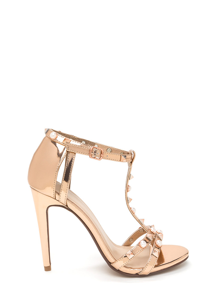 Studded With Pearls Metallic Heels ROSEGOLD