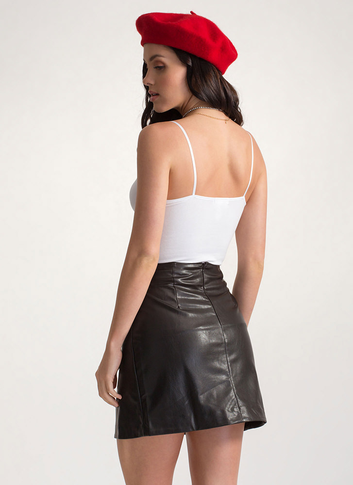 Ring It Up Faux Leather Wrap Skirt BLACK