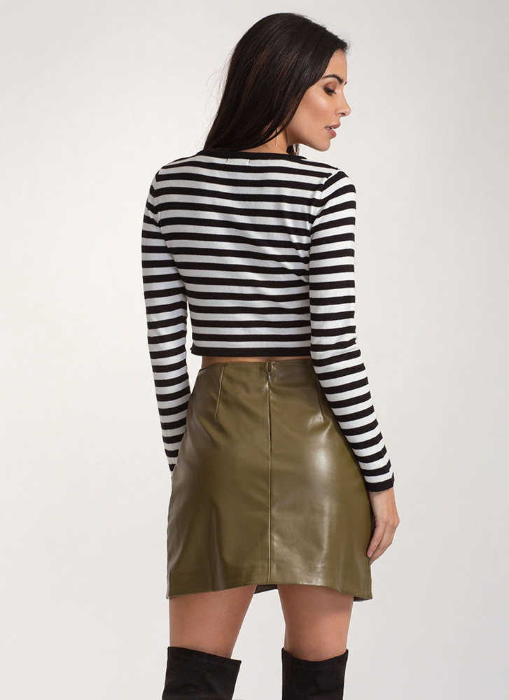 Ring It Up Faux Leather Wrap Skirt OLIVE