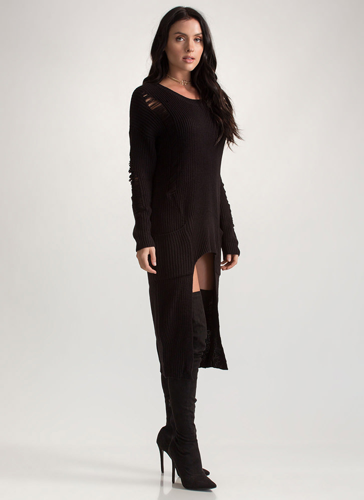 Cozy Comfort Chunky High-Low Sweater BLACK