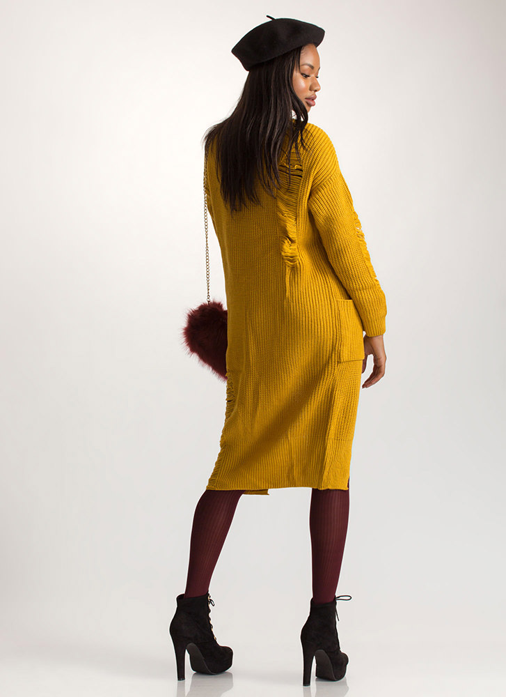 Cozy Comfort Chunky High-Low Sweater MUSTARD