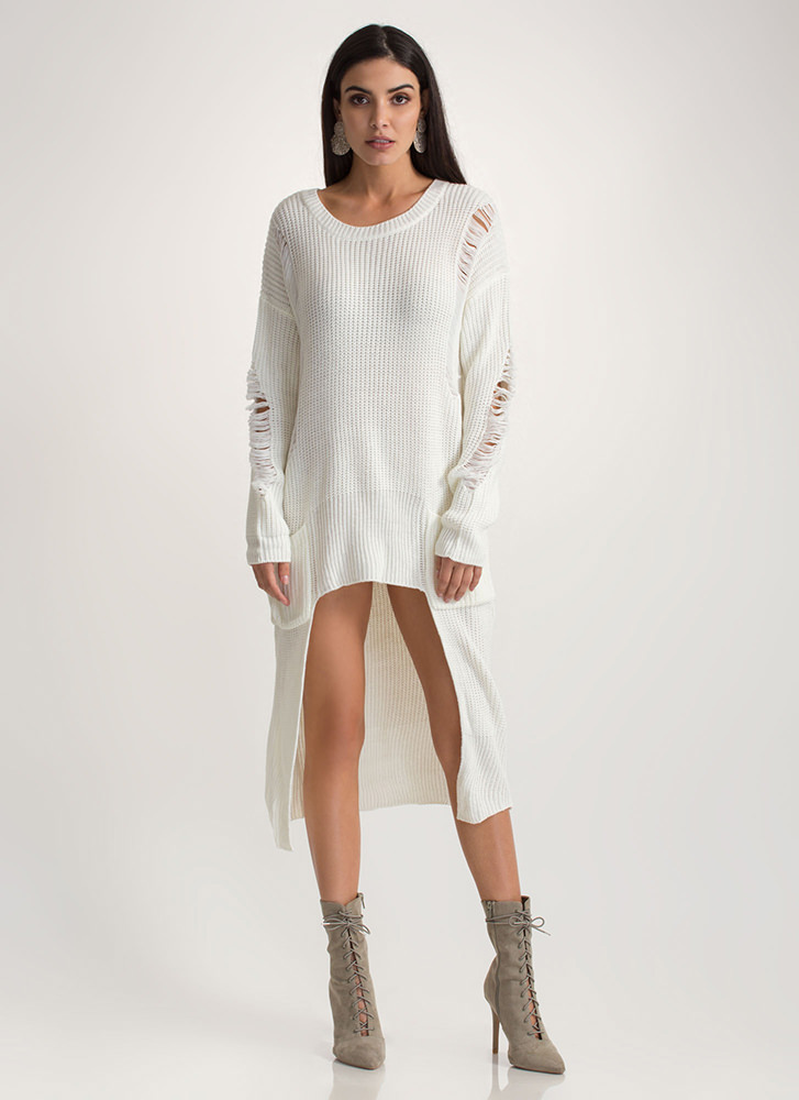 Cozy Comfort Chunky High-Low Sweater OFFWHITE