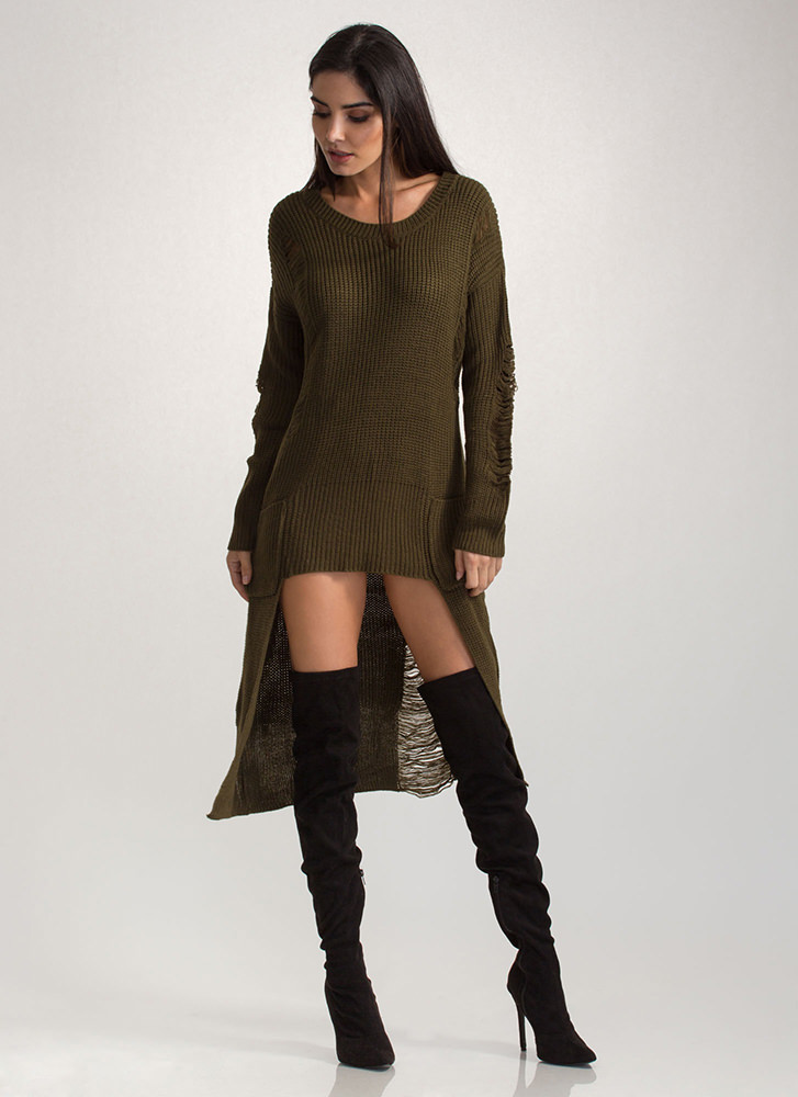 Cozy Comfort Chunky High-Low Sweater OLIVE
