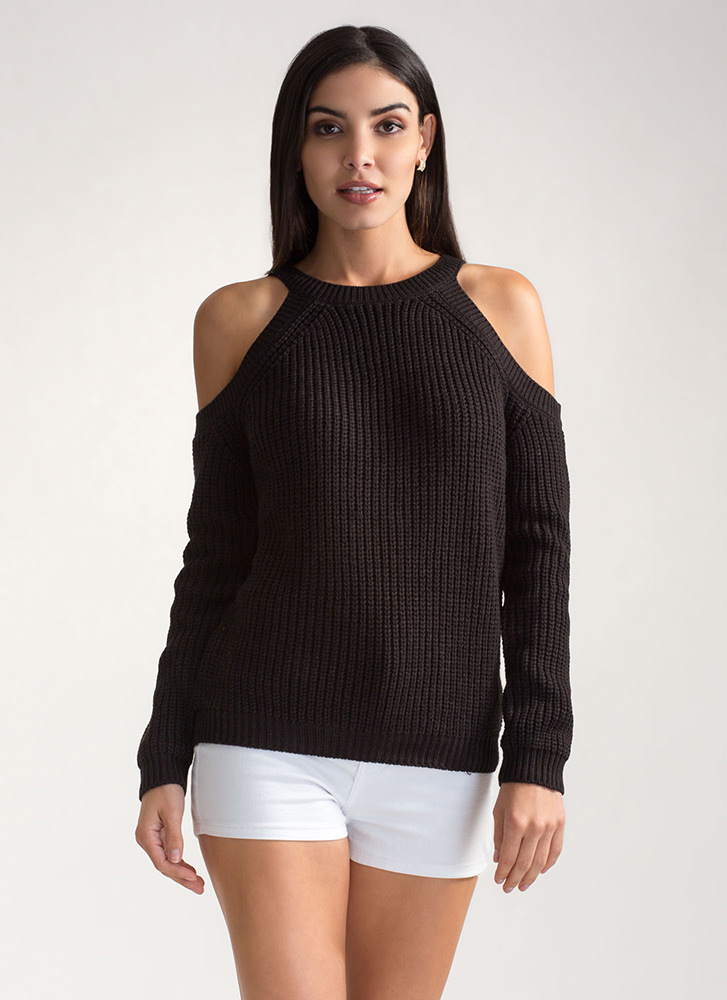 Knits For The Best Cold Shoulder Sweater BLACK