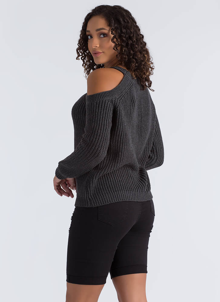 Knits For The Best Cold Shoulder Sweater CHARCOAL