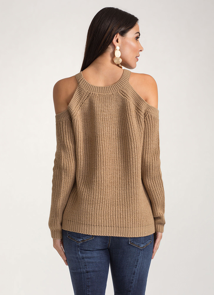 Knits For The Best Cold Shoulder Sweater KHAKI