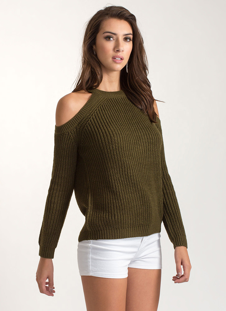 Knits For The Best Cold Shoulder Sweater OLIVE