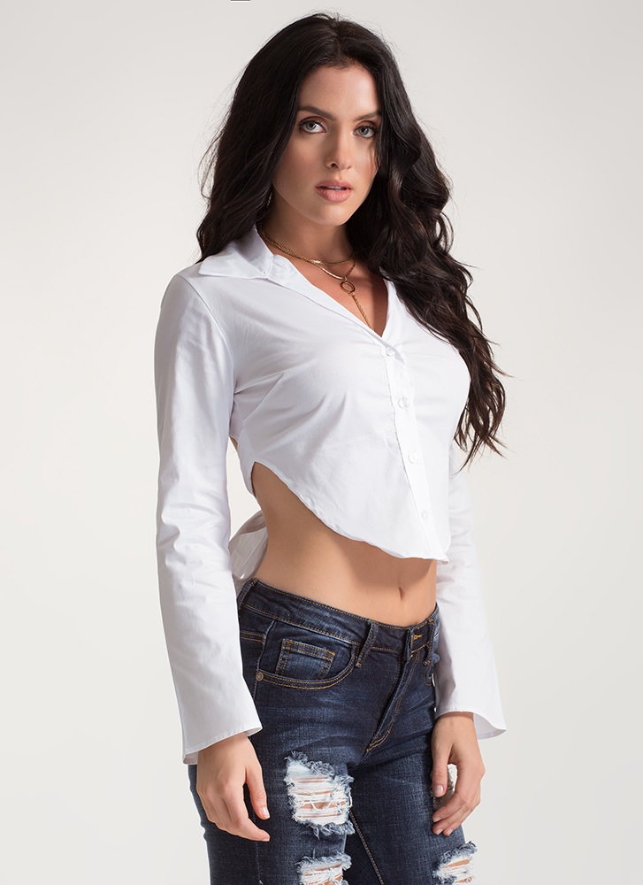 Taking It Back Tied Button-Up Top WHITE