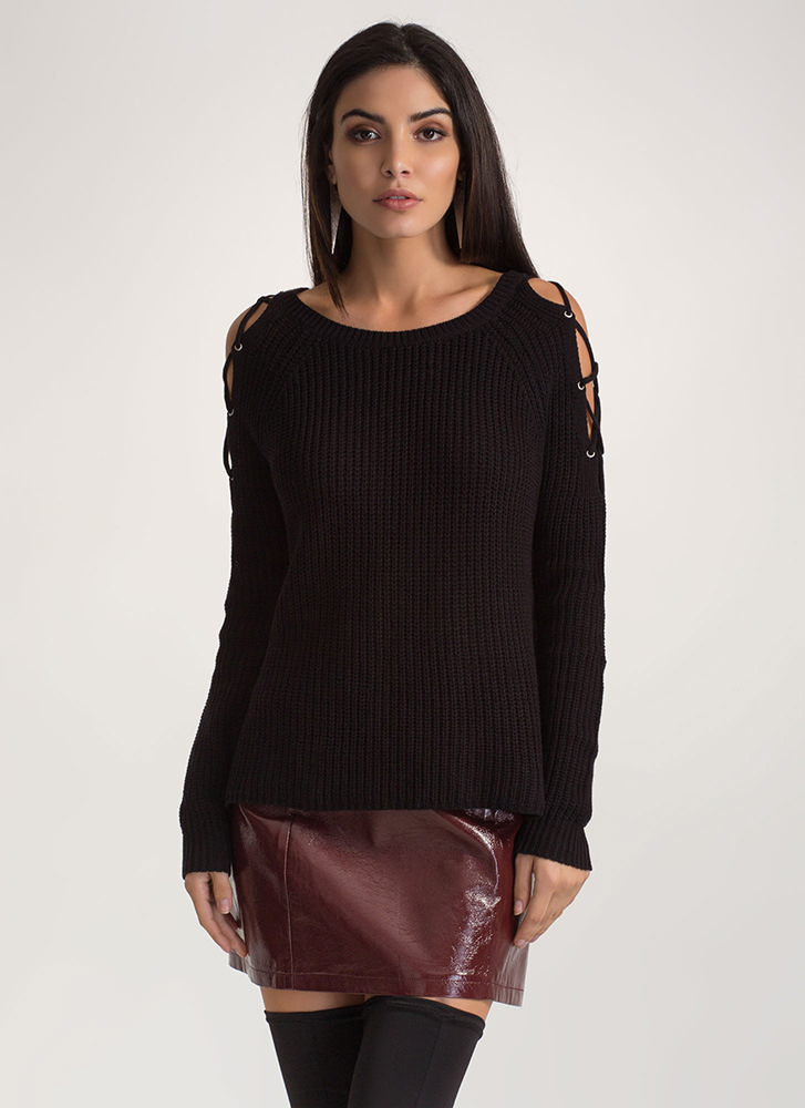 Lounge About Tied Cold Shoulder Sweater BLACK