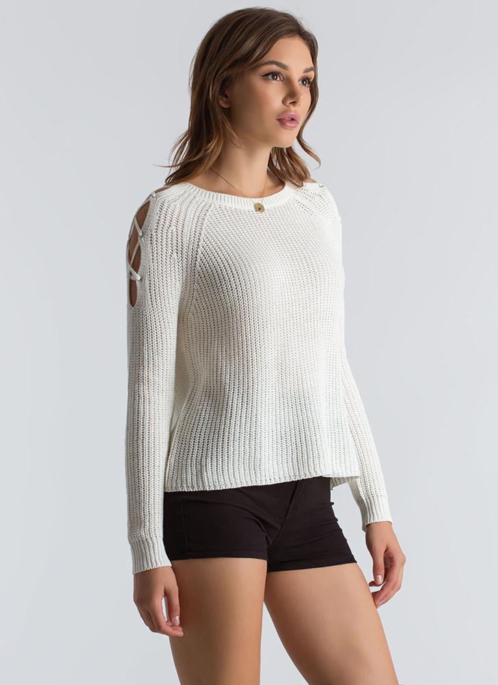Lounge About Tied Cold Shoulder Sweater IVORY