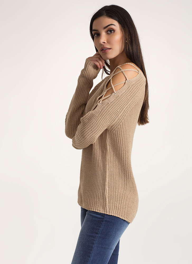 Lounge About Tied Cold Shoulder Sweater KHAKI