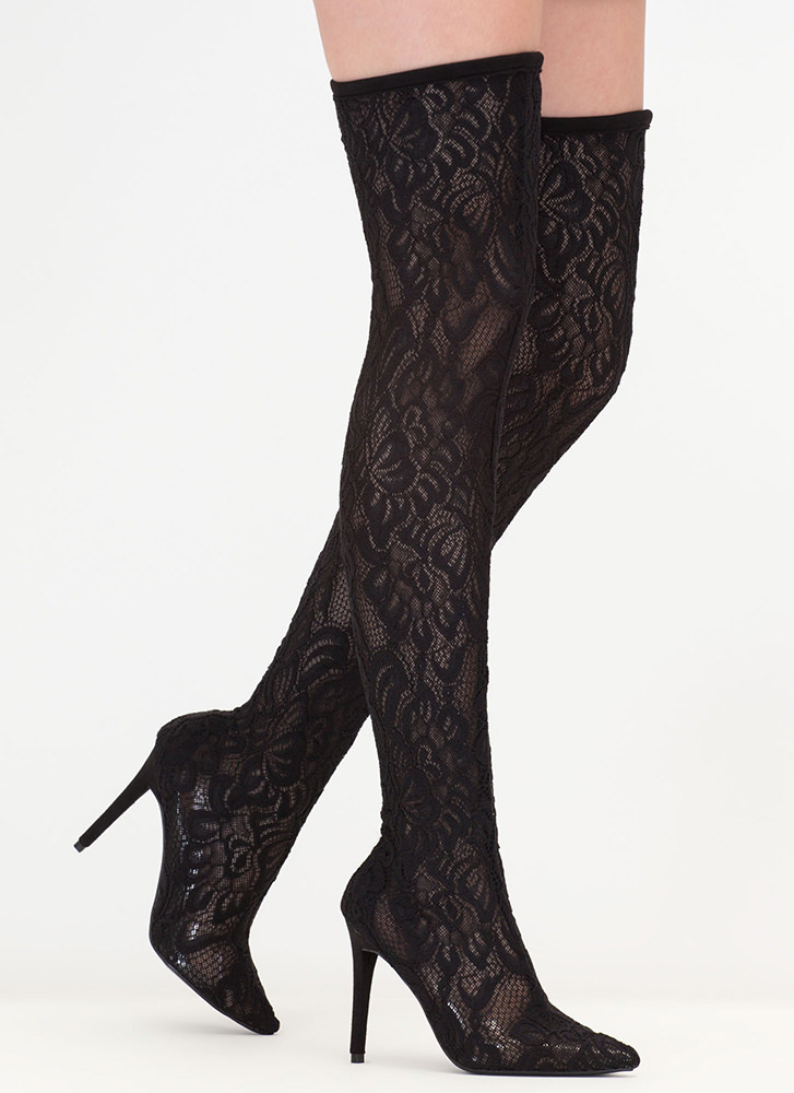 True Romance Lace Thigh-High Boots BLACK