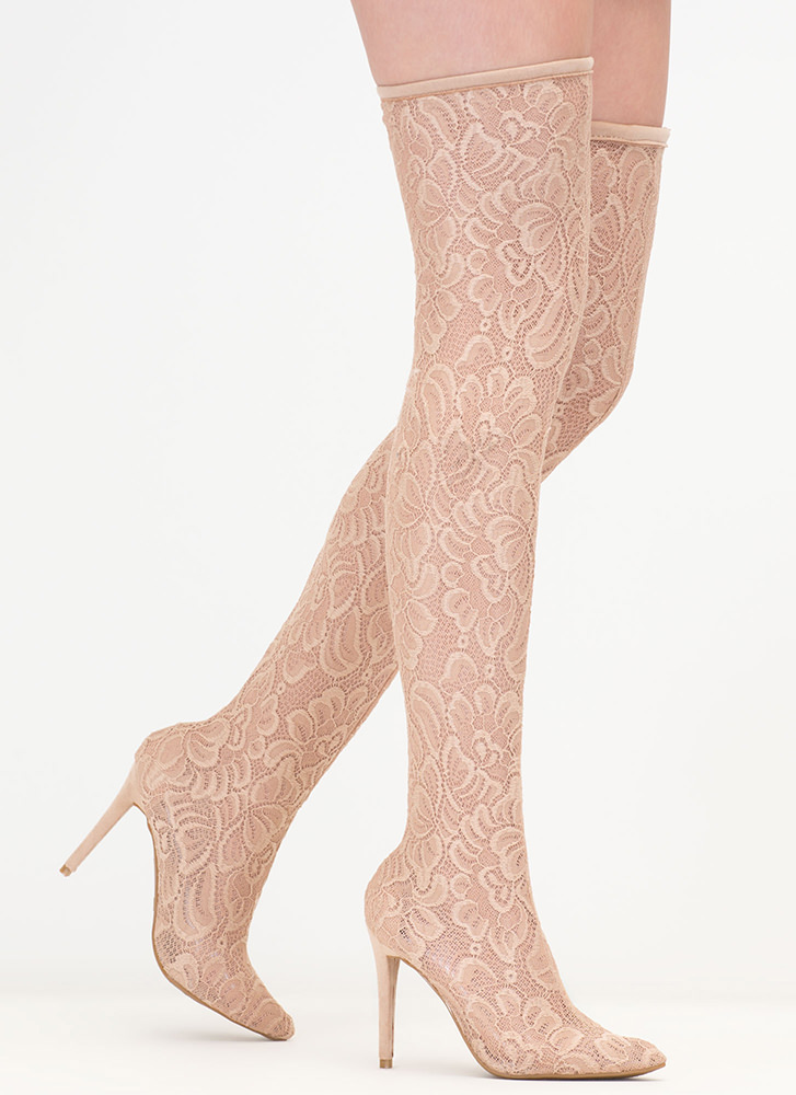 True Romance Lace Thigh-High Boots NUDE