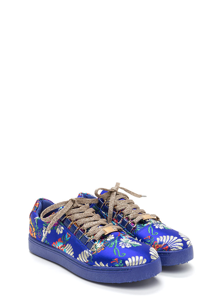 Running Off Embroidered Satin Sneakers BLUE