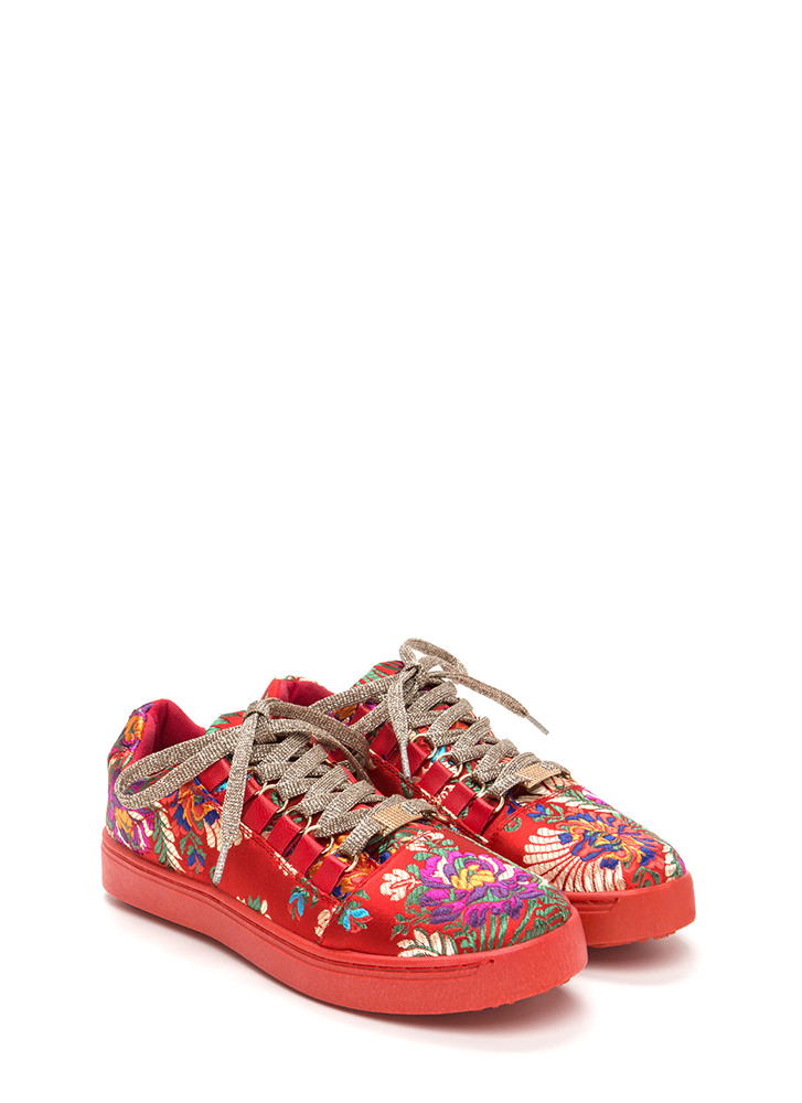 Running Off Embroidered Satin Sneakers RED