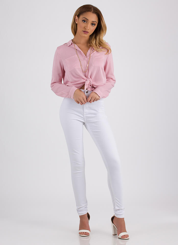 All Lined Up Striped Button-Up Shirt PINK