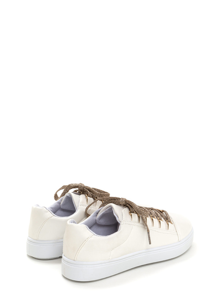 Running Off Faux Leather Sneakers WHITE
