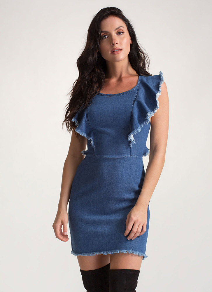 Casual Romance Ruffled Tied Denim Dress BLUE