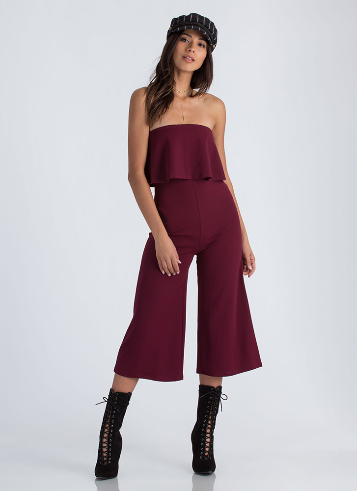 Crop It Like It's Hot Strapless Jumpsuit BURGUNDY