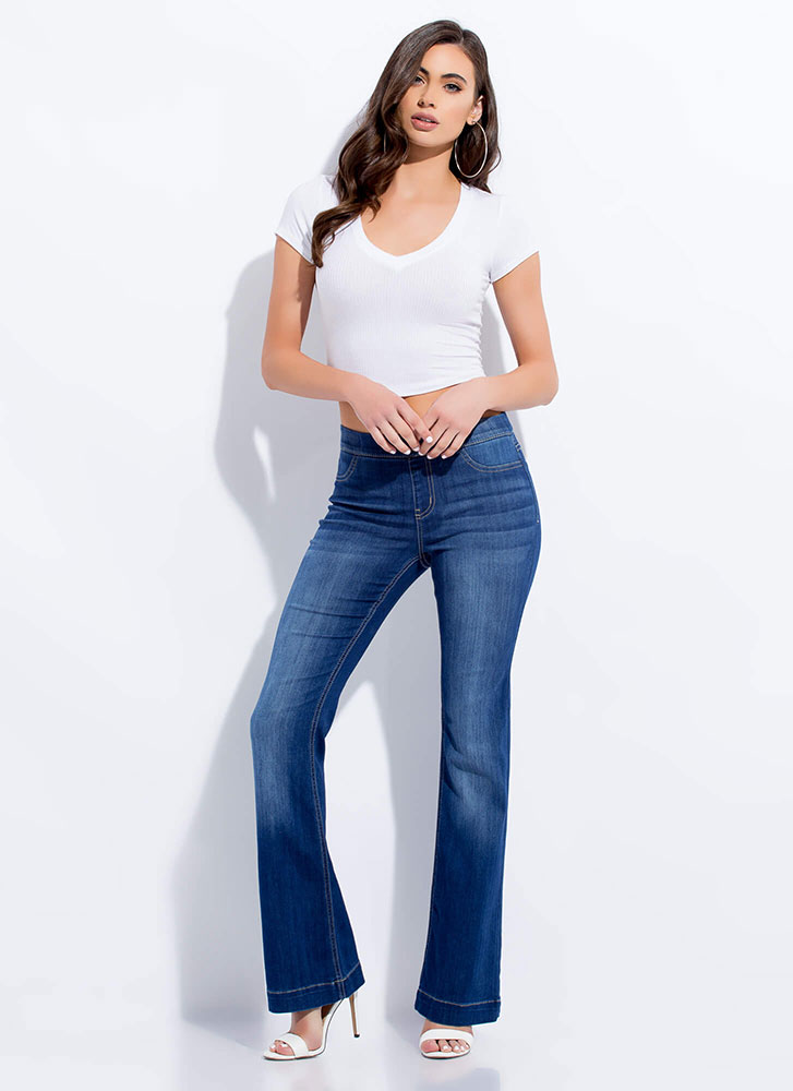 Flare Force Washed Pull-On Jeans BLUE