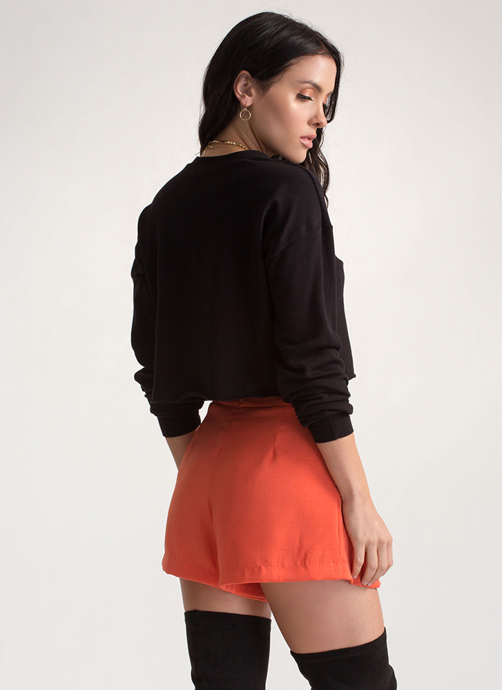 Keeping It Chic Pleated Shorts ORANGE