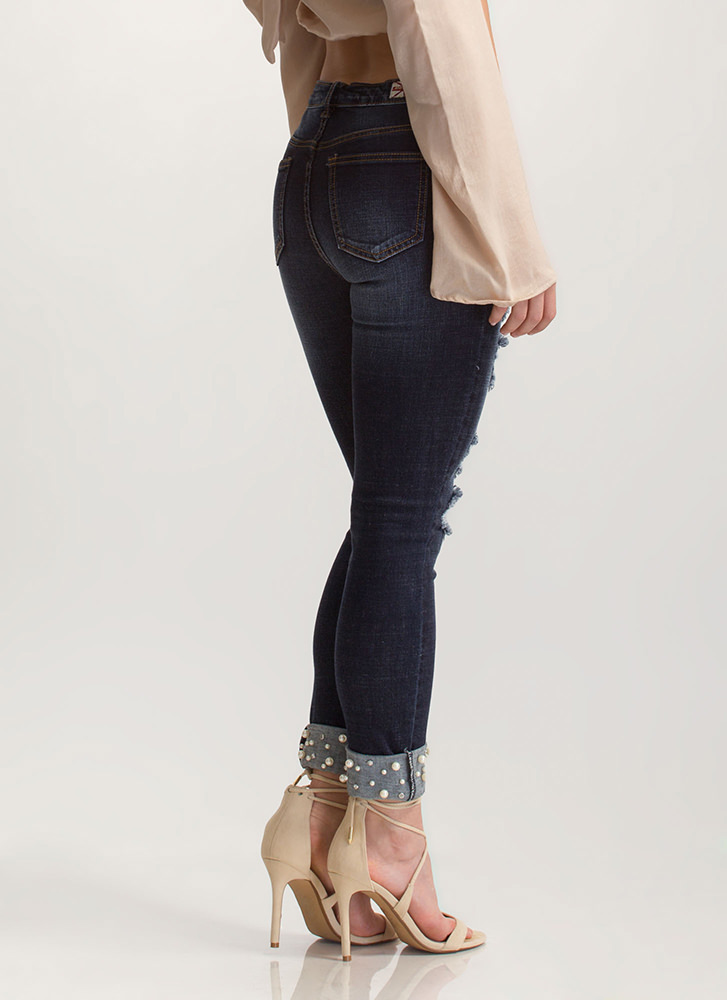 Bedazzled Jewels Distressed Skinny Jeans BLUE