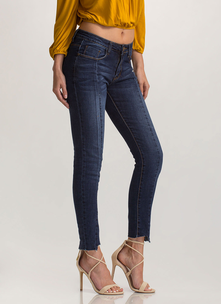 Next Step Distressed Skinny Jeans DKBLUE