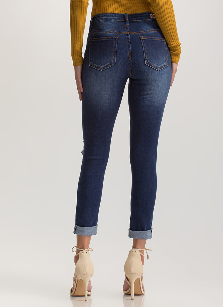 Laced 'N Loaded Distressed Skinny Jeans BLUE