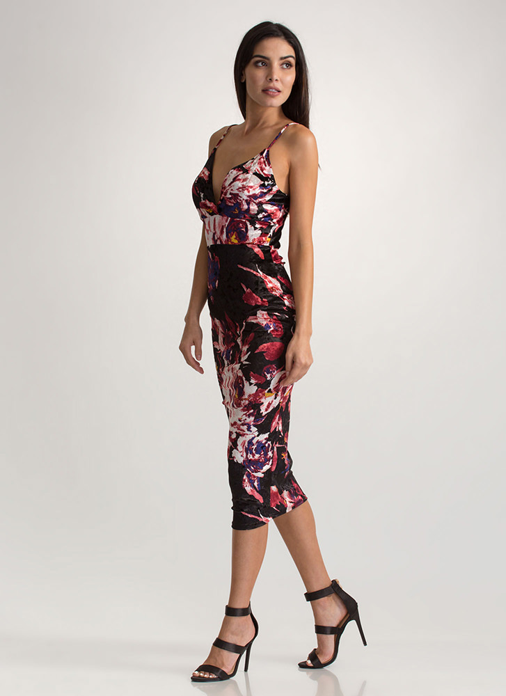 Floral Feels Velvet Bodycon Dress BLACK