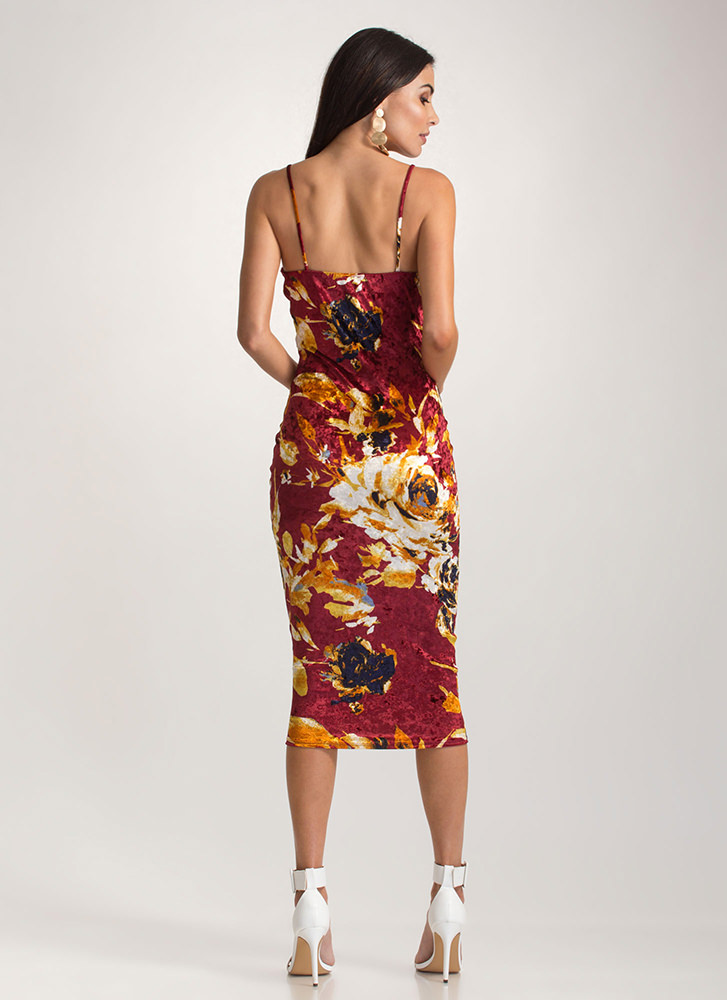 Floral Feels Velvet Bodycon Dress BURGUNDY