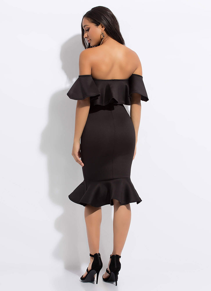 Evening Party Ruffled Off-Shoulder Dress BLACK