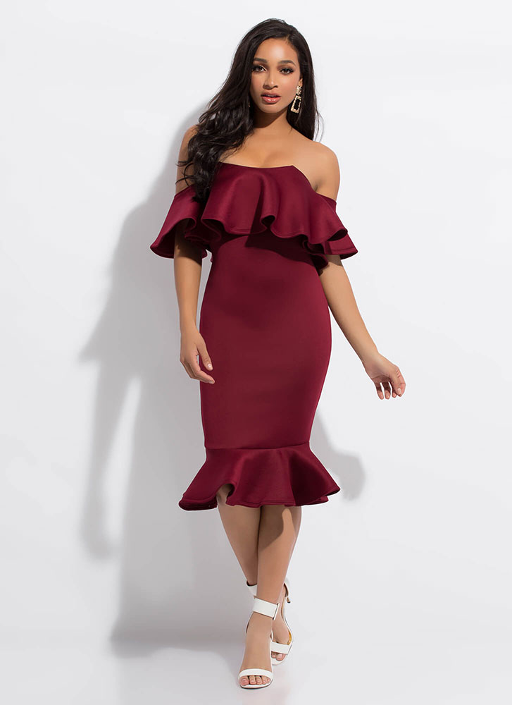 Evening Party Ruffled Off-Shoulder Dress BURGUNDY